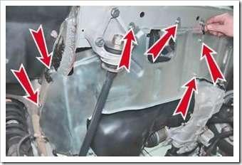 как установить брызговик двигателя на  ваз 2114